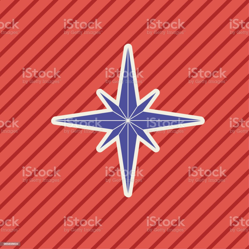 Cute Nautical Compass Rose Icon - Royalty-free Beach stock vector
