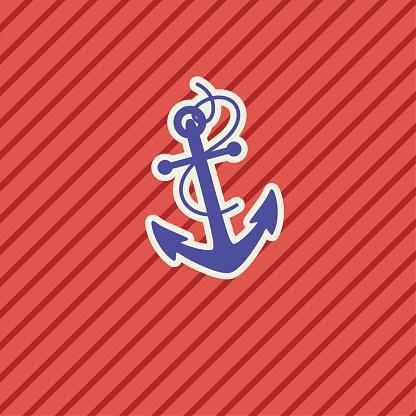 Schattige Nautische Icoon Anker Stockvectorkunst en meer beelden van Anker