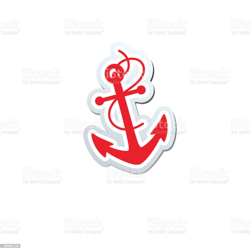 Cute Nautical Icon - Anchor - Векторная графика Белый роялти-фри