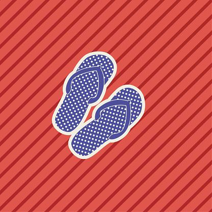 Schattige Nautische Icoon Slippers Stockvectorkunst en meer beelden van Blauw