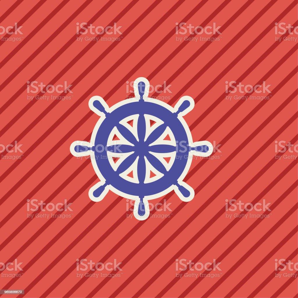 Schattige nautische icoon - schip wiel - Royalty-free Blauw vectorkunst