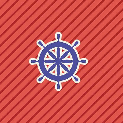 Schattige Nautische Icoon Schip Wiel Stockvectorkunst en meer beelden van Blauw