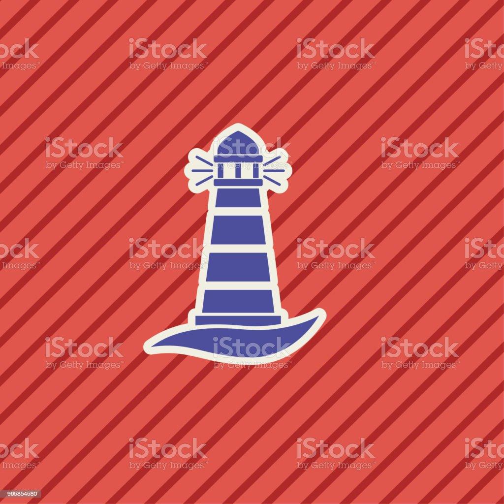 Schattig nautische vuurtoren pictogram - Royalty-free Blauw vectorkunst