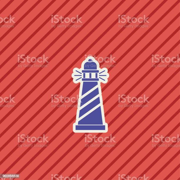 Cute Nautical Lighthouse Icon - Arte vetorial de stock e mais imagens de Azul