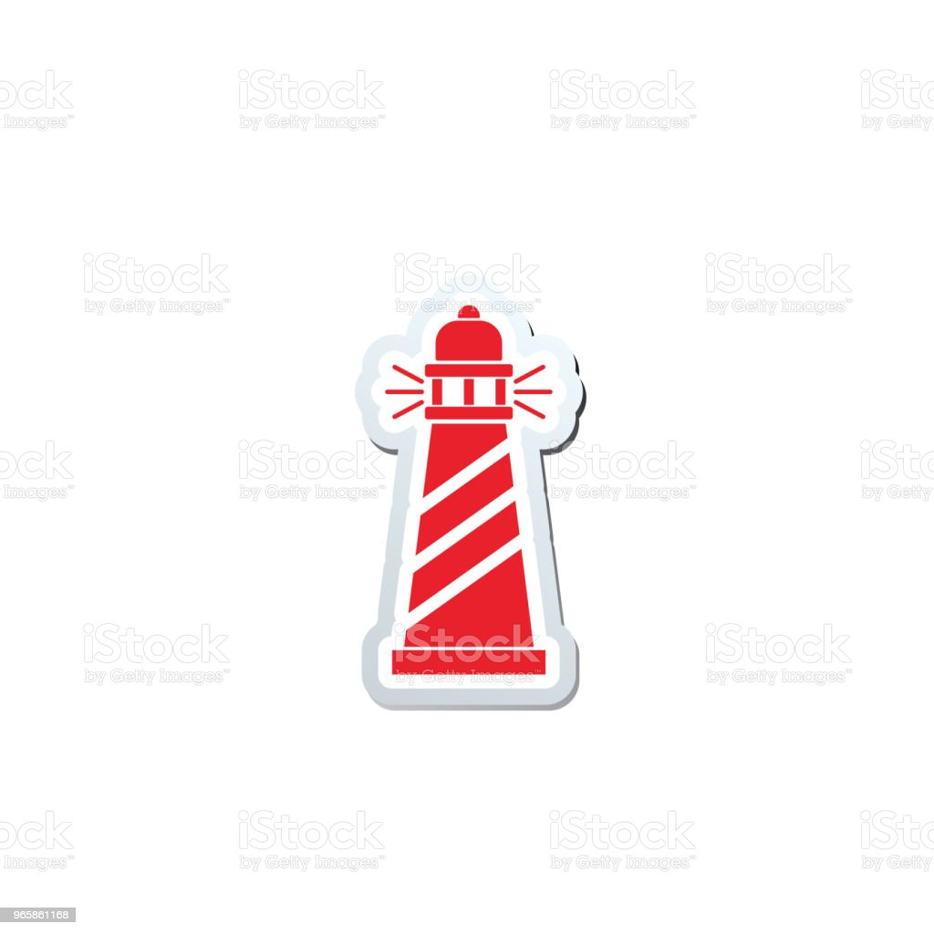 Cute Nautical Lighthouse Icon - Royalty-free Beach stock vector