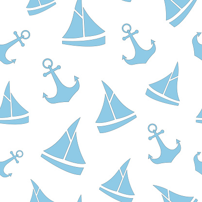 Cute nautical pattern with sailboat and anchor. Baby marine seamless pettern for fabric, for textile, for nursery