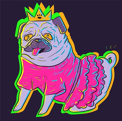 Cute neon pug in a pink tutu dress wearing a crown. Vector art of an animal in a costume under UV glowing lights. Small adorable dog sitting and showing its tongue