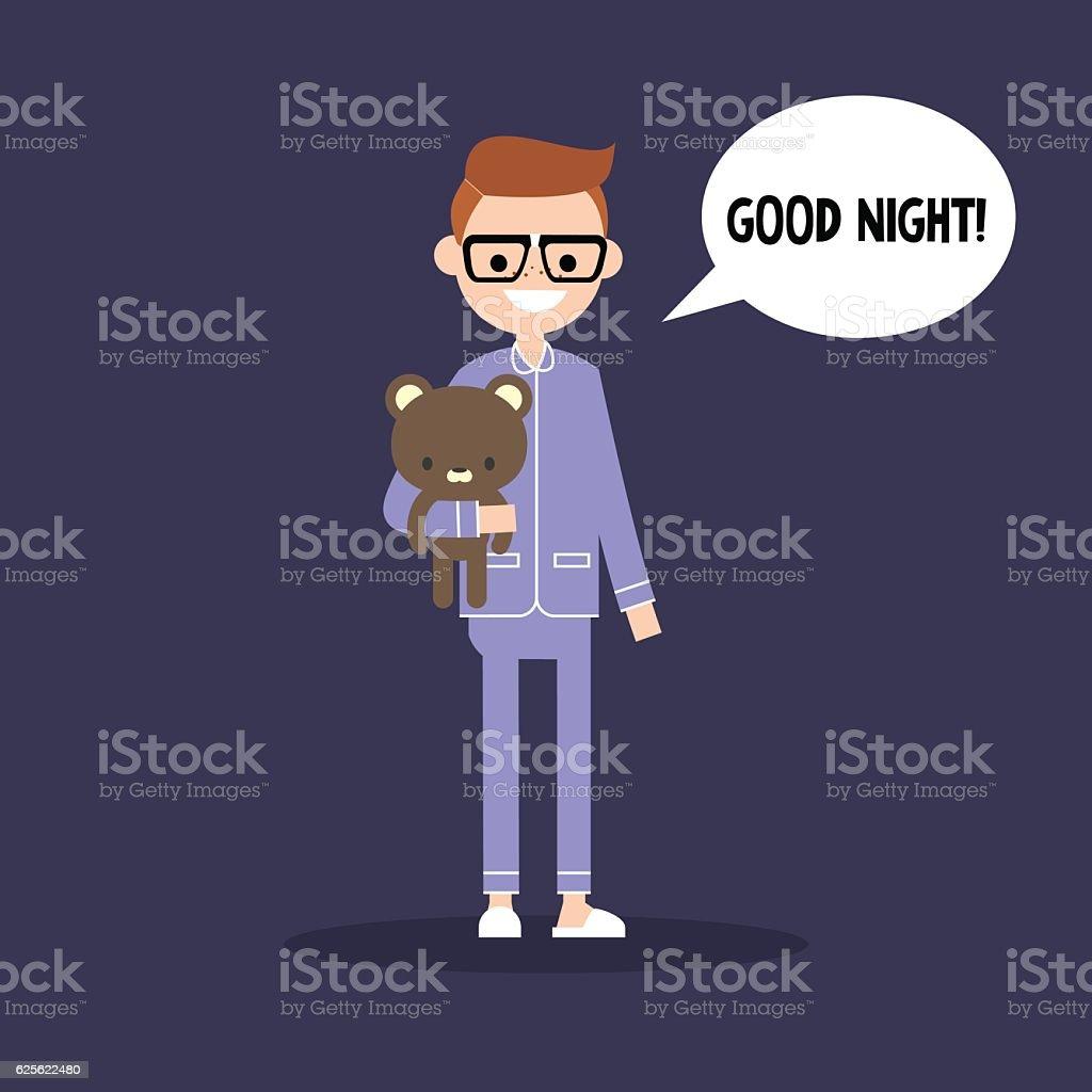 Cute nerd in pajamas saying 'Good night!' vector art illustration