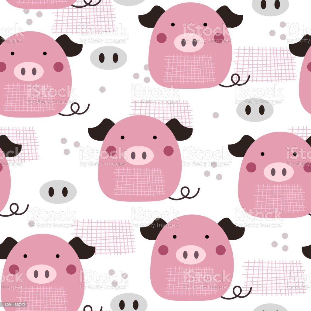 Cute new year 2019 symbol pink pig pattern cartoon style for childrenkids and nursery home decor design for fabricposters and textile illustration