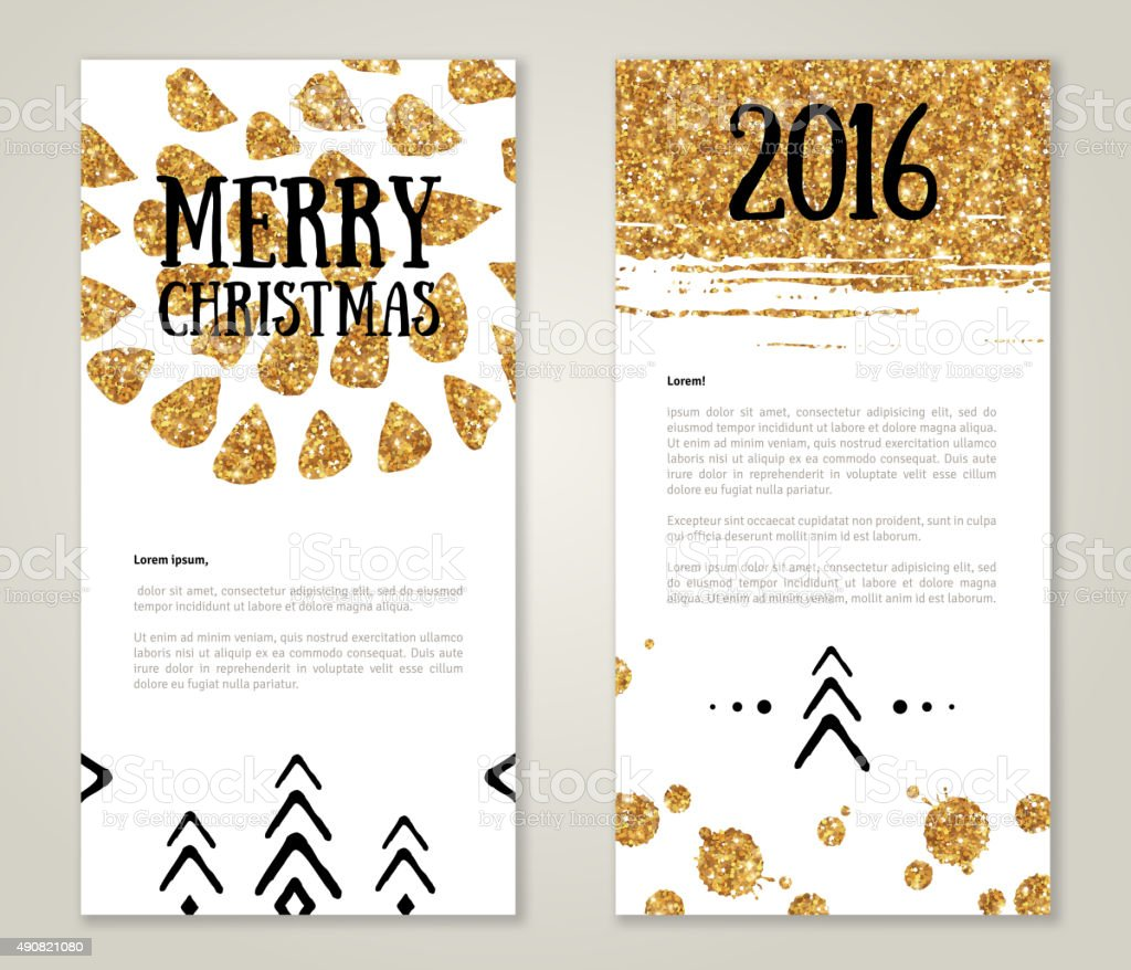 Cute New Year Greeting Cards With Gold Confetti Glitter Texture ...