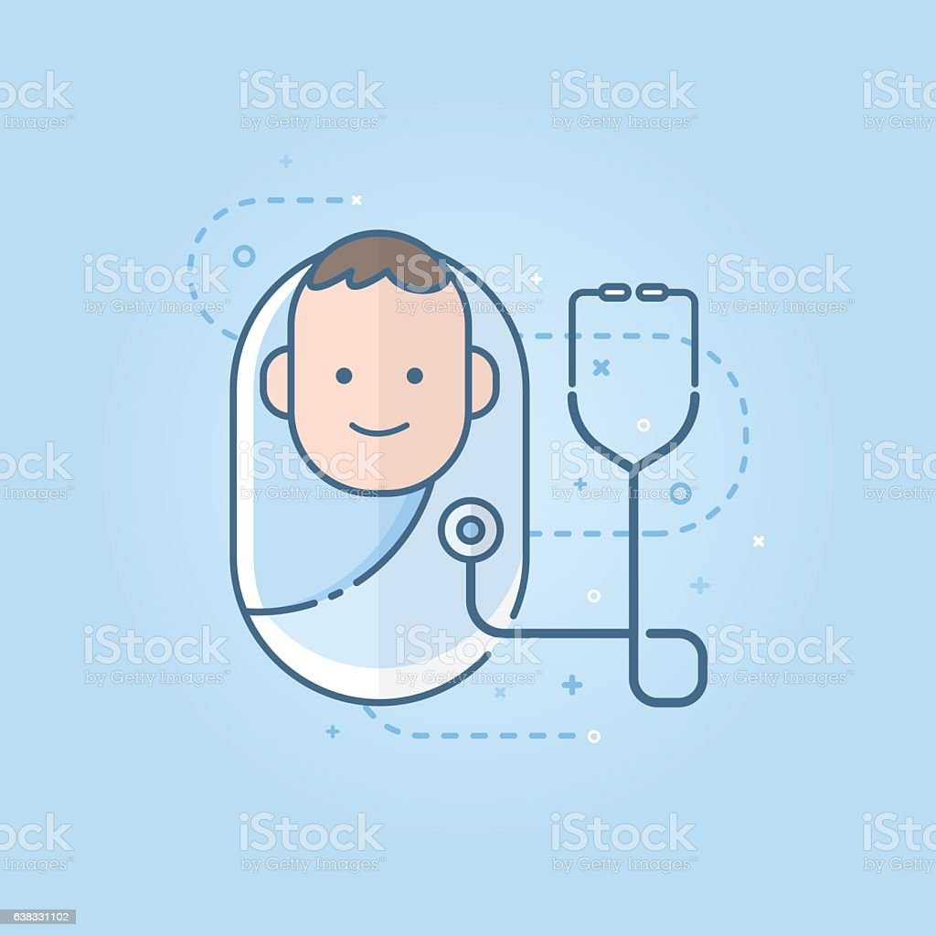 Cute newborn baby icon with the stethoscope, flat symbol design. ベクターアートイラスト
