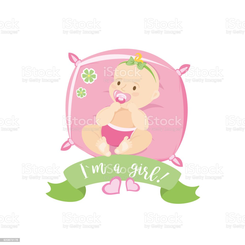 Cute Newborn Baby Lies On A Pillow Stock Vector Art More Images Of
