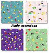 Cute seamless patterns for children.Four different patterns.For fabric,background,wallpaper,backdrop.Vector