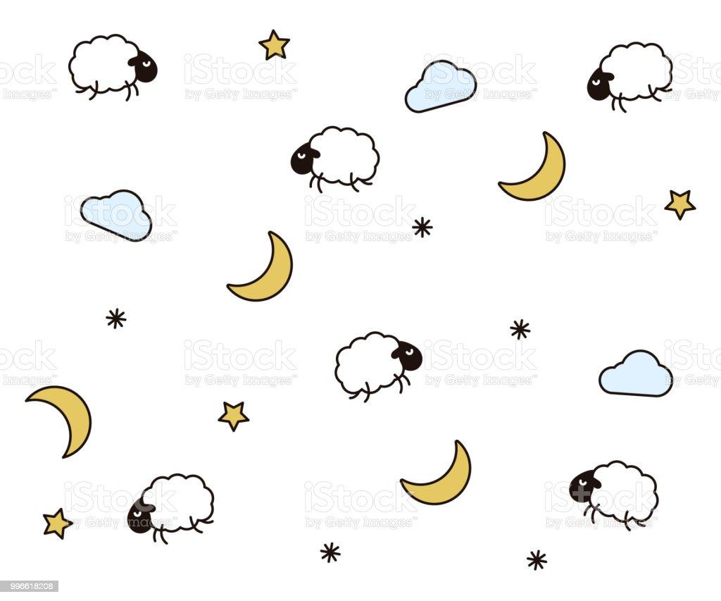 かわいい夜子供の就寝時間の睡眠のためのシームレスなパターン背景雲月