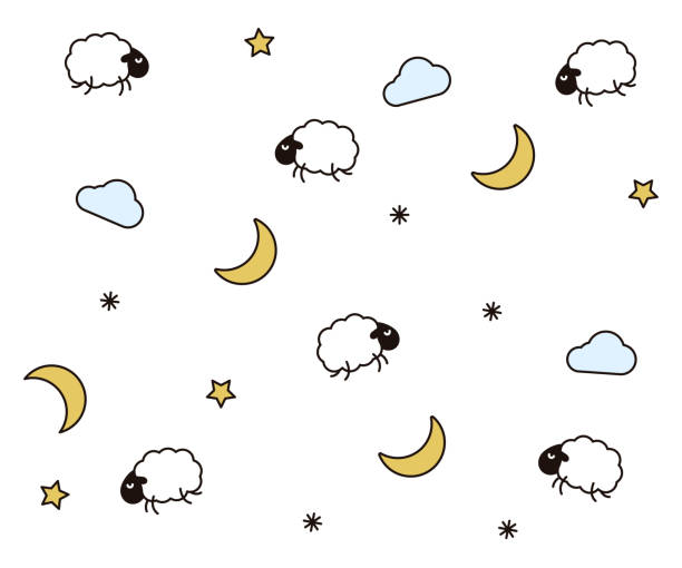 Cute night seamless pattern background for kids bedtime sleeping. Vector wallpaper illustration with clouds, moons, stars, sheeps or lambs Vector eps10 counting stock illustrations