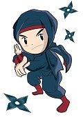 Cute Ninja and Shuriken ninja star, throwing weapon