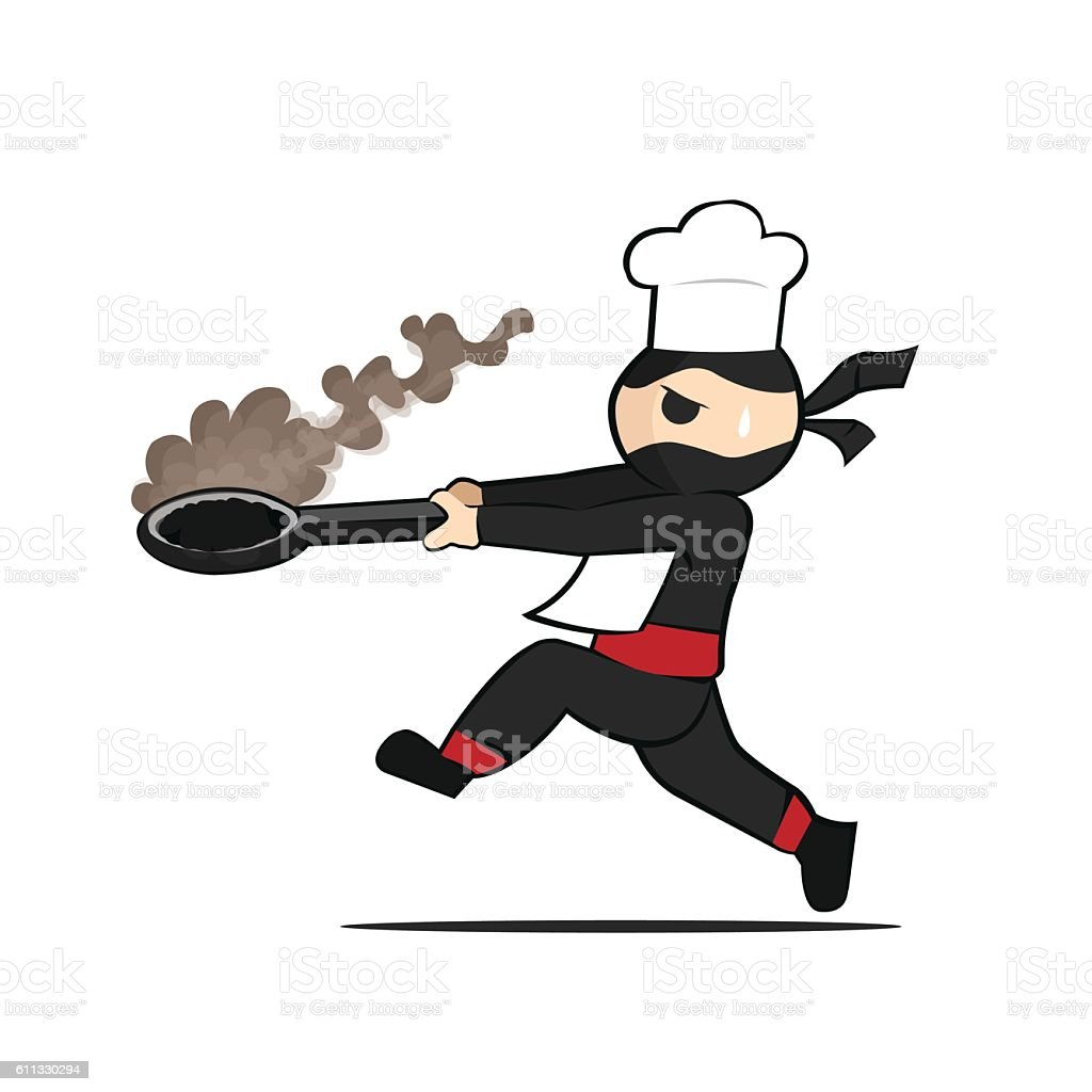 cute ninja is a terrible chef stock vector art & more images of