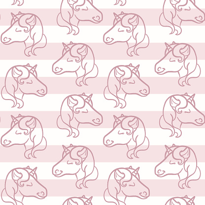 Cute nude pink seamless repeat stripe pattern with unicorns