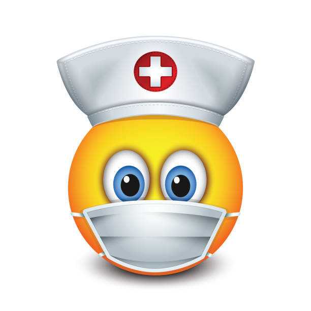 Cute nurse emoticon wearing hat and surgical mask - emoji, smiley - isolated vector illustration Cute nurse emoticon wearing hat and surgical mask - emoji, smiley surgical cap stock illustrations