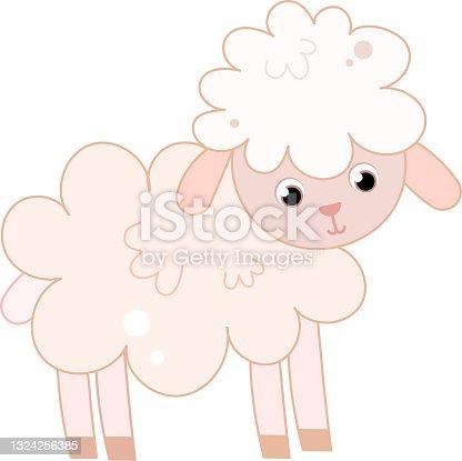 istock Cute nursery adorable sheep lamb animal on a farm. 1324256385
