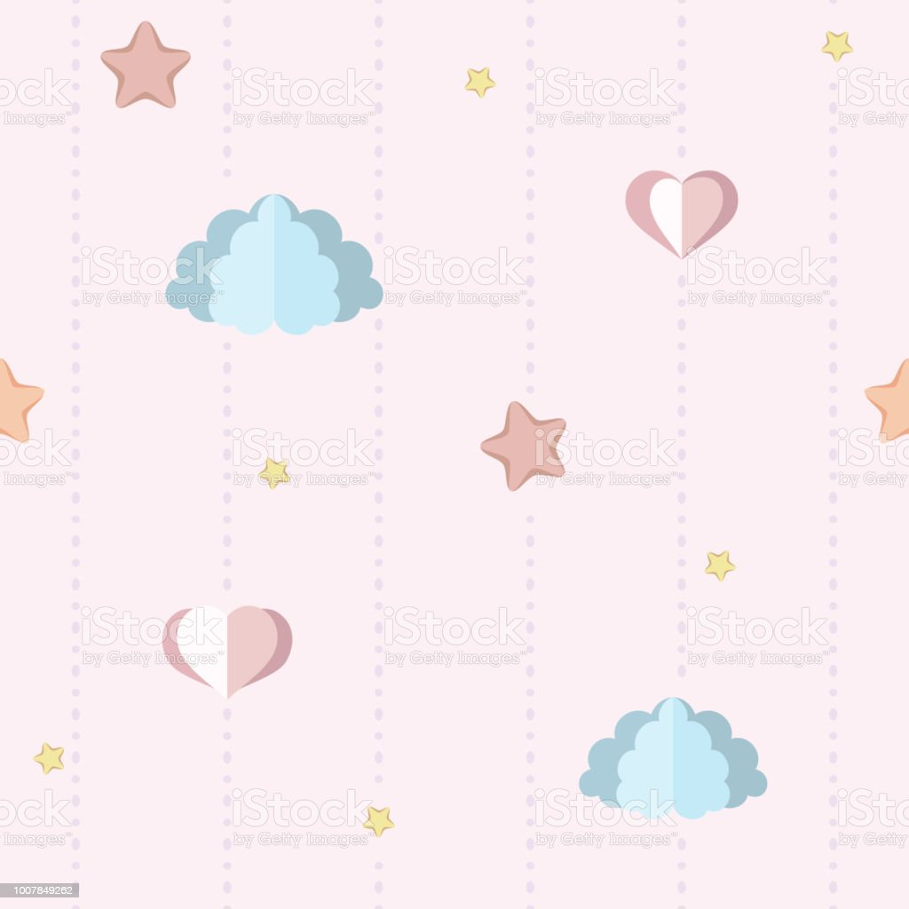 Cute Nursery Childrens Bedroom Wallpaper With Paper Clouds Stars And ...
