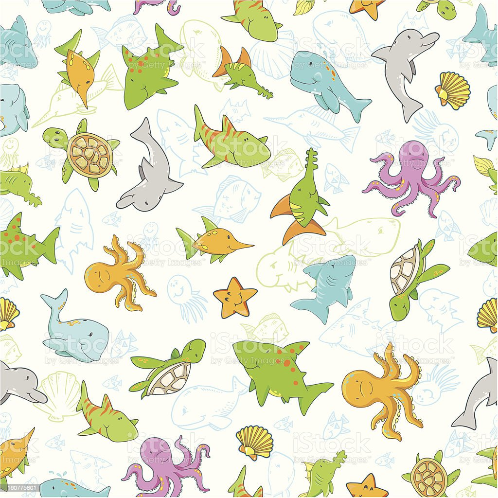 Cute Ocean Creature Seamless Pattern royalty-free stock vector art