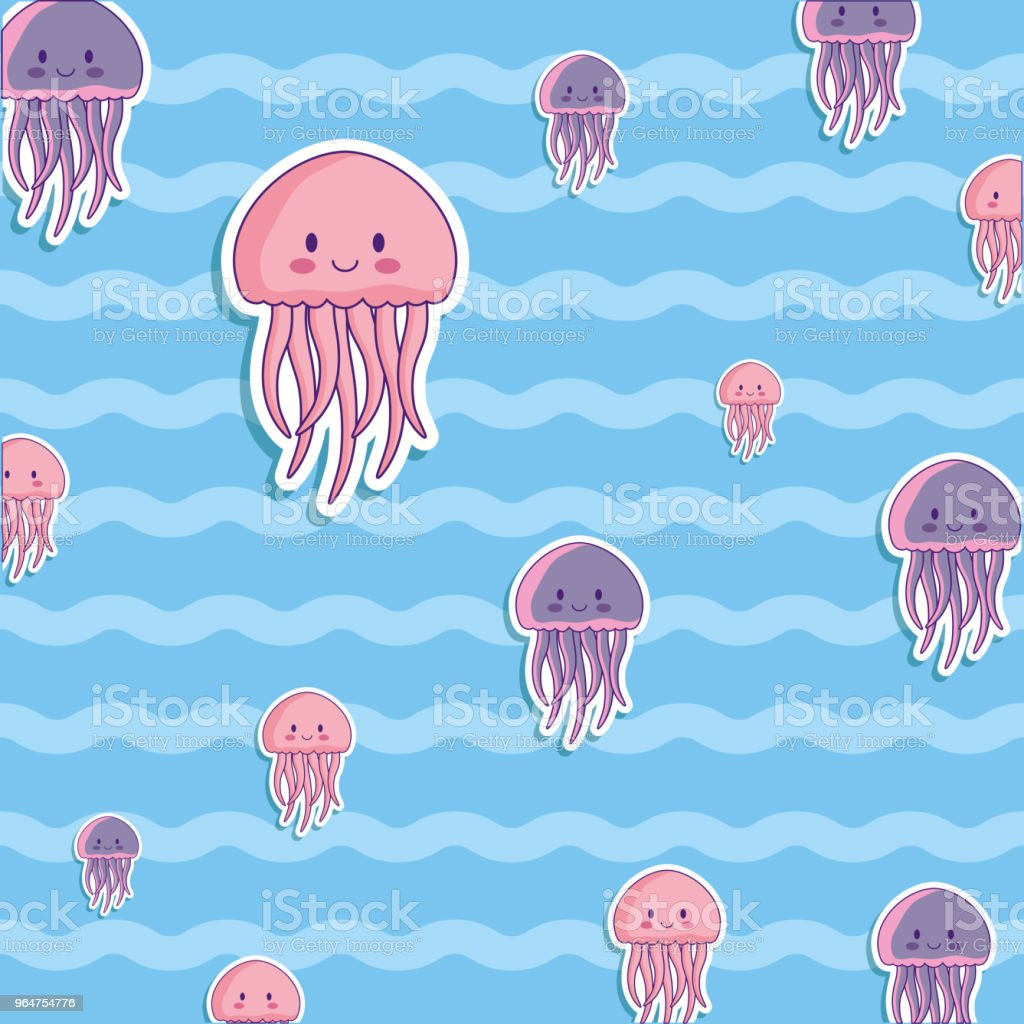 cute octopus and jellyfish background royalty-free cute octopus and jellyfish background stock vector art & more images of animal