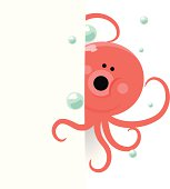 Vector illustration - Cute Octopus Behind A Blank Sign.