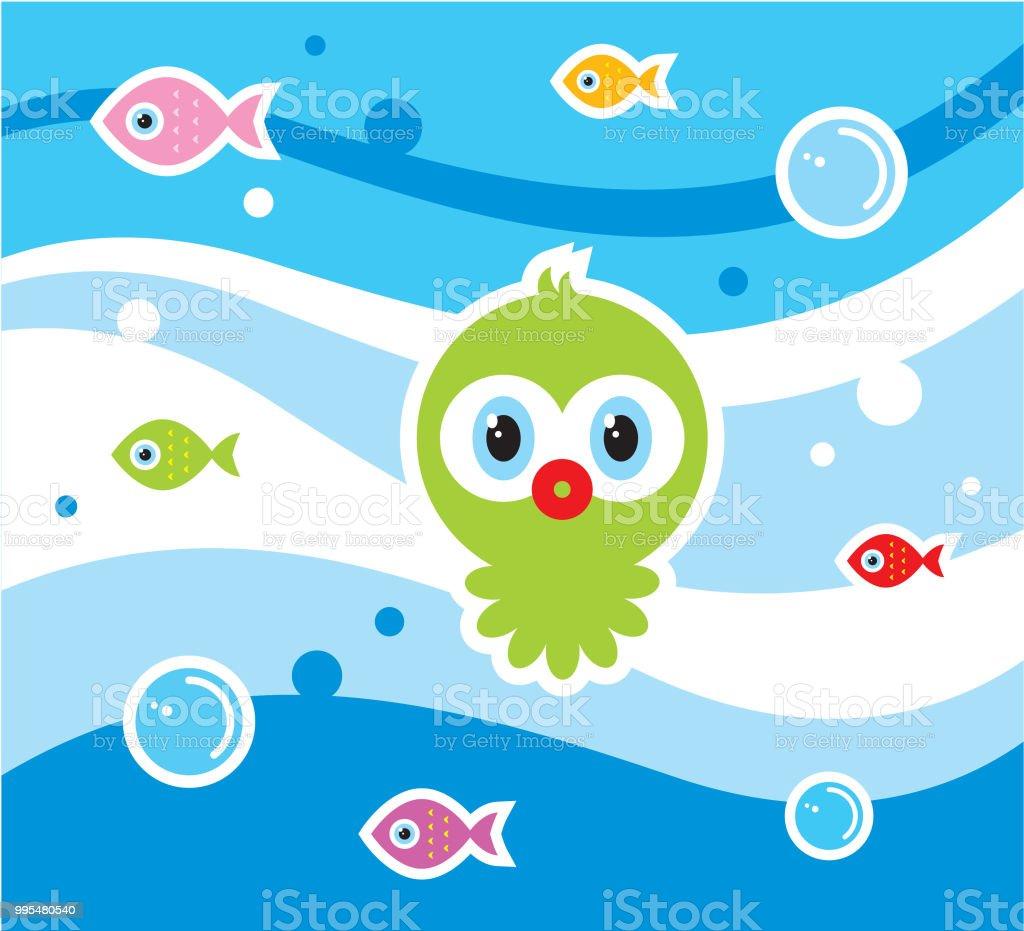 cute octopus cartoon wallpaper vector royalty-free cute octopus cartoon wallpaper vector stock vector art