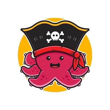 Cute octopus pirate mascot character logo cartoon icon illustration