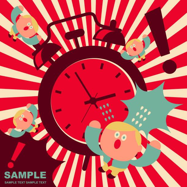 illustrazioni stock, clip art, cartoni animati e icone di tendenza di cute office worker getting shock by the noise of an huge alarm clock - bassino