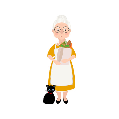 A cute old lady with wrinkles on her face and gray hair stands and holds a bag of groceries in her hands. A woman in a yellow dress with a cat. Vector stock hand-drawn illustration isolated on a white