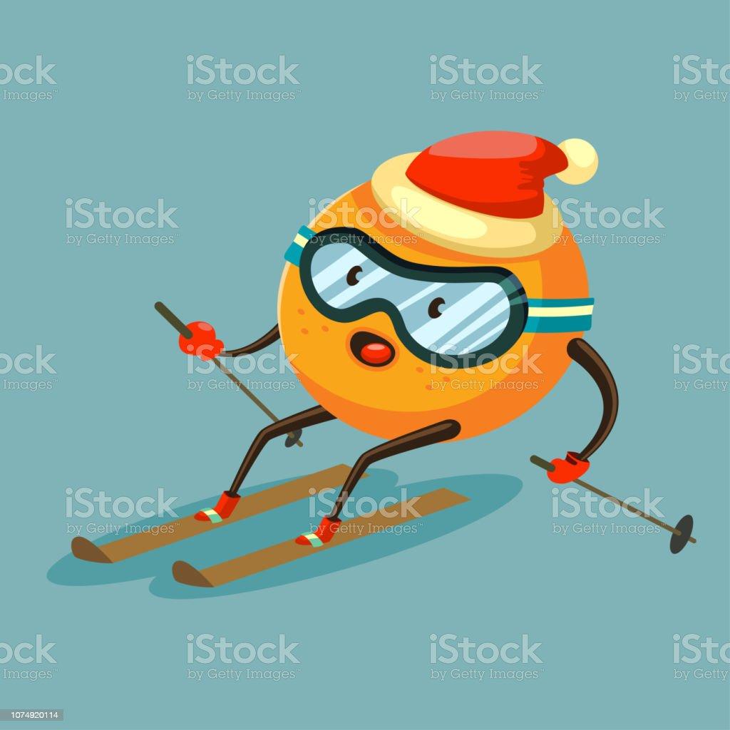 Cute Orange Cartoon Character Skiing In Glasses And Santa Claus
