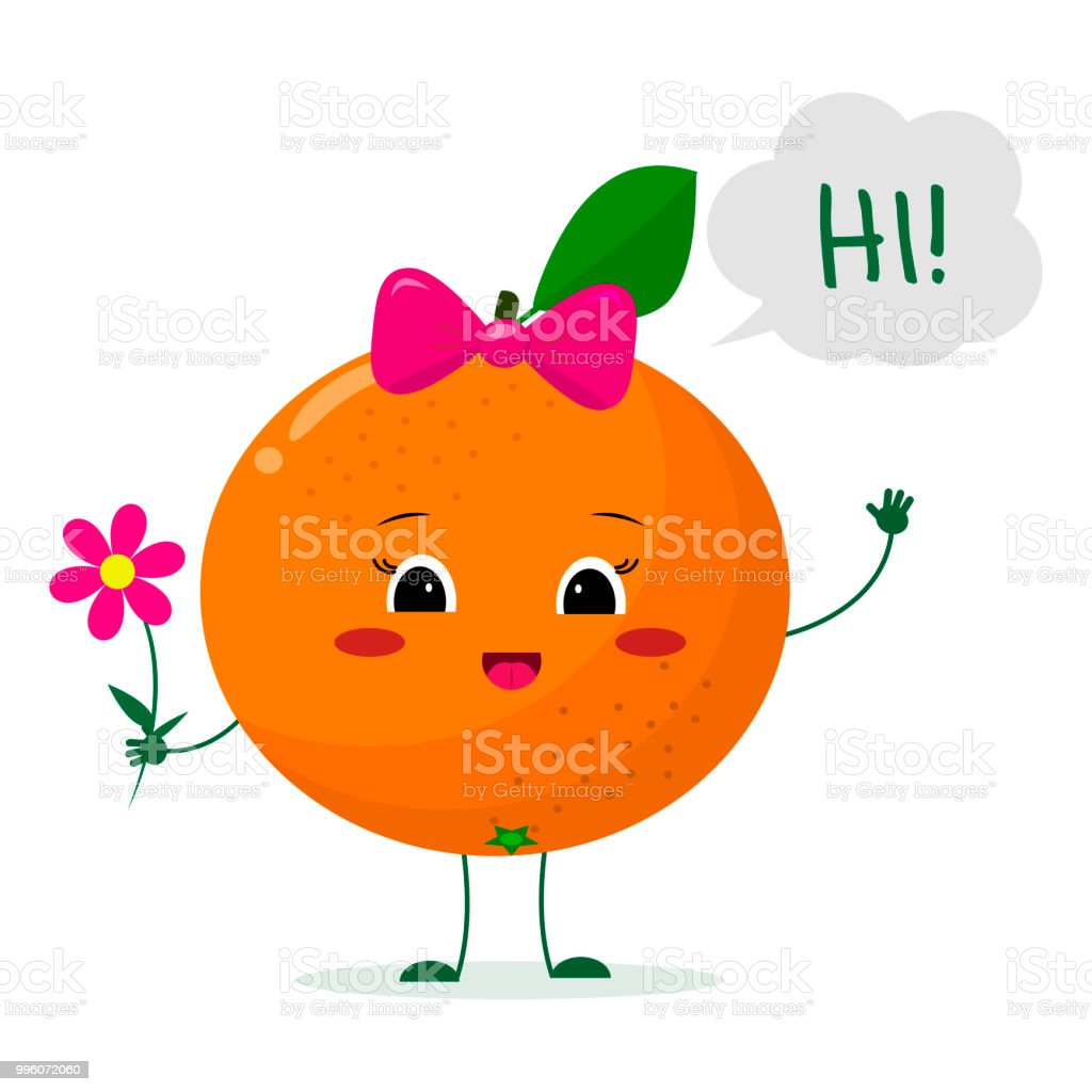 Cute Orange Cartoon Character With A Pink Bow Holding A Flower And
