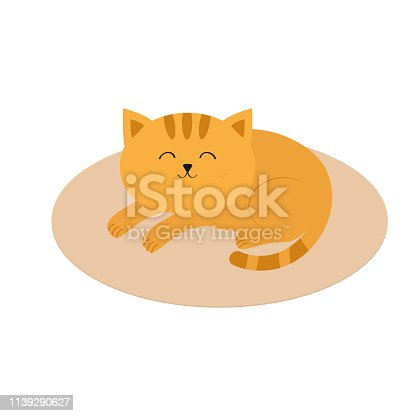 istock Cute orange cat lying sleeping on oval carpet rug mat. Moustache whisker. Funny cartoon character. White background. Isolated. Flat design. 1139290627