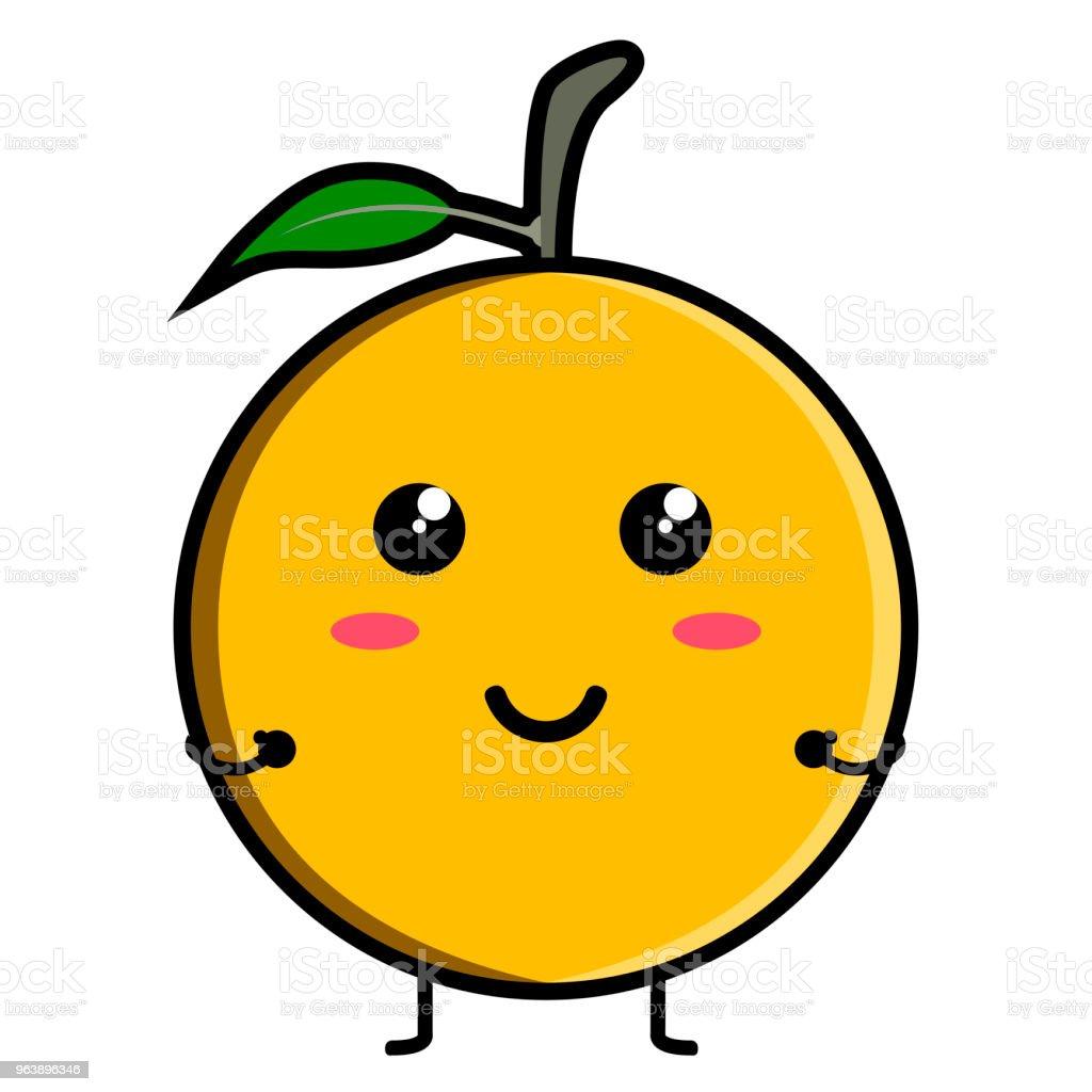 Cute orange emoticon - Royalty-free Cartoon stock vector