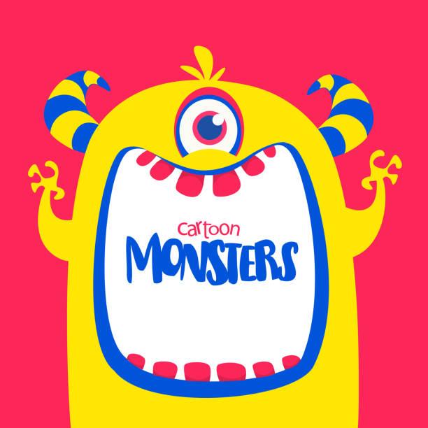 Niedlichen orange gehörnten Cartoon Monster. Lustige Monster zeigt Zunge. – Vektorgrafik