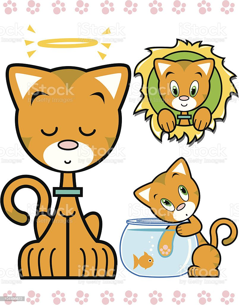 Cute Orange Kitty Character Series royalty-free cute orange kitty character series stock vector art & more images of angel