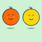 2 cute oranges vector design in yellow and orange isolated on white background