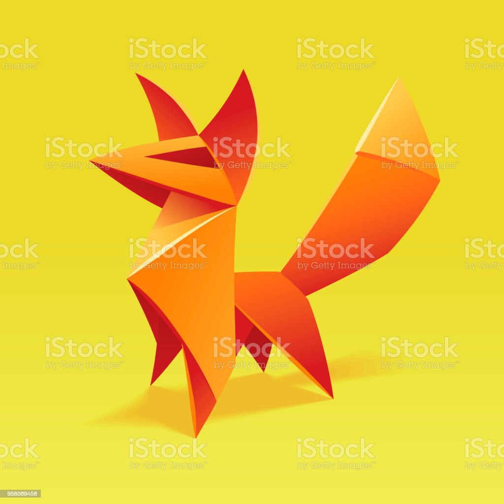 Cute Origami Fox Stock Vector Art More Images Of Abstract