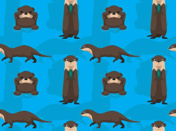 cute otter cartoon seamless wallpaper - otter stock illustrations, clip art, cartoons, & icons