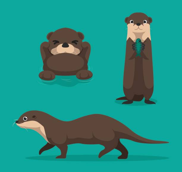 cute otter cartoon vector illustration - otter stock illustrations, clip art, cartoons, & icons