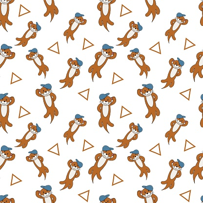 Cute otter seamless pattern background say hello