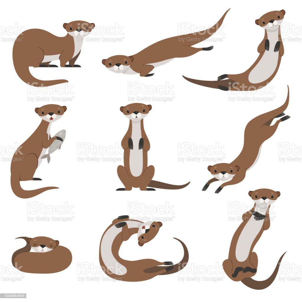 Niedlichen Fischotter festgelegt, lustige Tieren Charakter in verschiedenen Posen Vektor Illustration auf weißem Hintergrund – Vektorgrafik