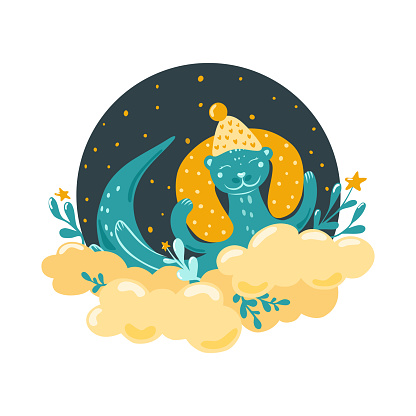 A cute otter sleeps on a cloud. Children's illustration in the Scandinavian style. Bedroom decor. Vector.