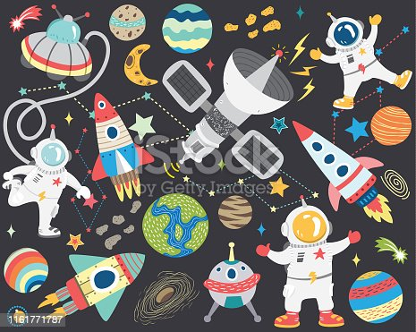 A vector illustration of Cute Outer Space Collection Set. Perfect for Outer space theme, birthday, party, holiday, card and many more.