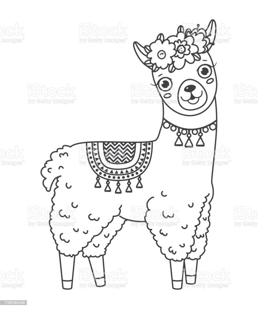 ilustración de lindo contorno doodle saltar llama con