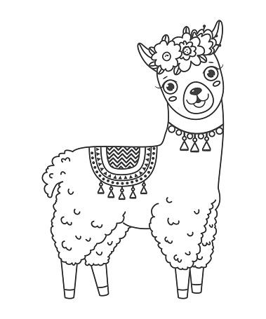 Nette Umriss Doodle Springen Lama Mit Handgezeichneten ...