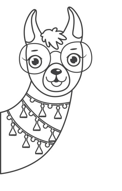 best cute smiling llama outline illustrations royalty