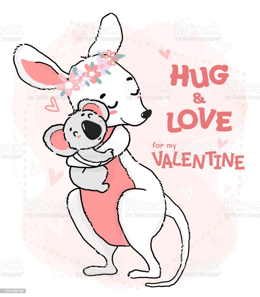 Ilustracion De Lindo Esquema Dibujo Koala Abrazo Y Amor Canguro